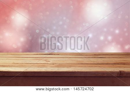Dreamy romantic background with empty wooden table