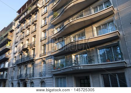 Santiago Region Metropolitana Chile - June 07 2016: The Bellas Artes neighborhood is one of the most traditional and emblematic neighborhoods in Santiago and well known for the French architecture of the buildings.