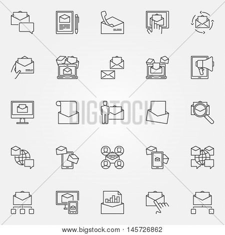 Email marketing line icons. Vector set of E-mail marketing and promotion linear concept symbols