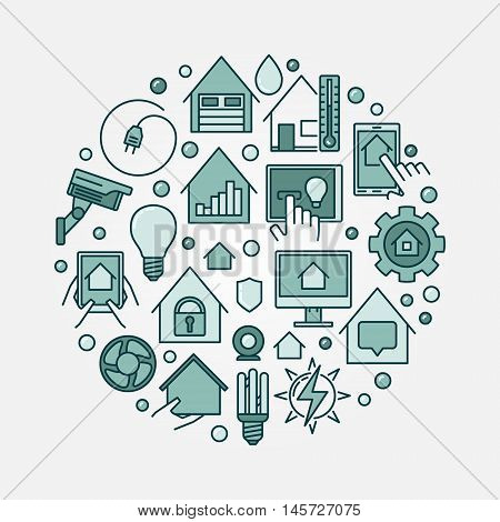 Smart home circular illustration. Vector concept colorful smart house technology system circle symbol