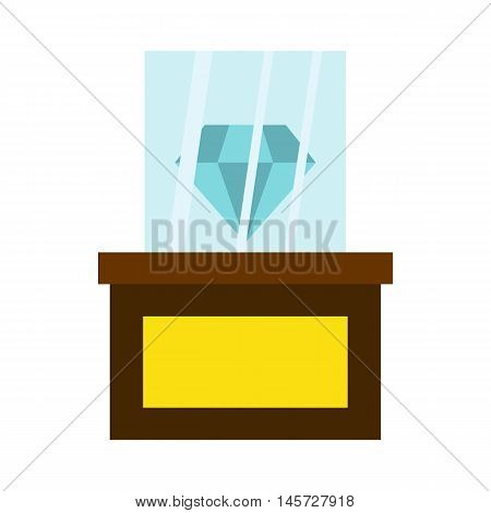 Diamond on a pedestal icon in flat style on a white background vector illustration