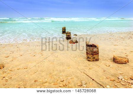 View of Al Mughsayl beach near Salalah, Oman during monsoon season