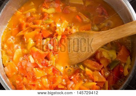 Cooking Stew With Mixed And Colorfull Vegetables