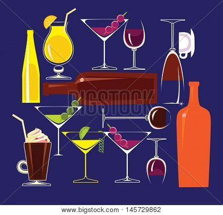 vector illustration composition of glass dishes