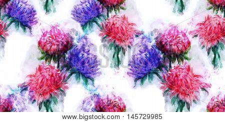 Beautiful bouquet of aster flowers. Pattern of Watercolor dream herb. Illustration for cards, book
