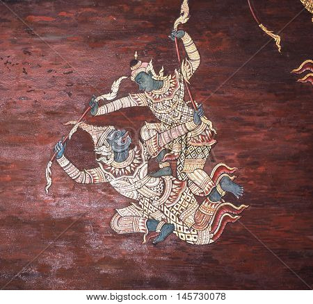 Ramayana epic story Temple Wall Painting, Thai style Mural