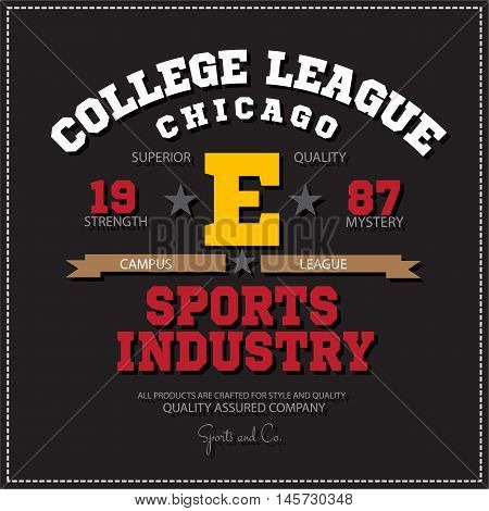 Sport athletic champions college league Chicago logo emblem. Vector Graphics and typography t-shirt design for apparel. Isolated very easy to use.