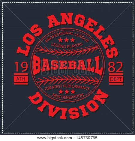 College Los angeles varsity division sport baseball america typography, t-shirt graphics. Red color version. Very easy to use for apparel.