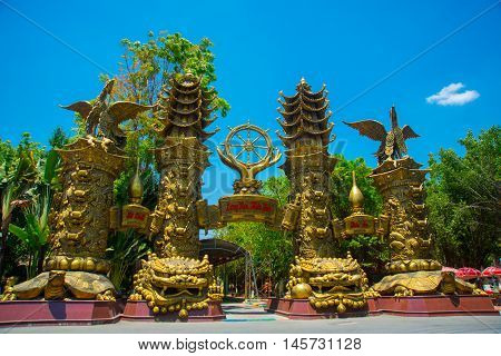 HO CHI MINH CITY, VIETNAM, the Suoi Tien park in Saigon.Huge statues and temples