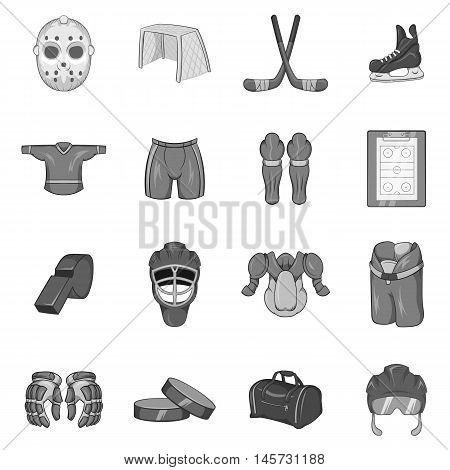 Hockey icons set in black monochrome style. Hockey equipment set collection vector illustration