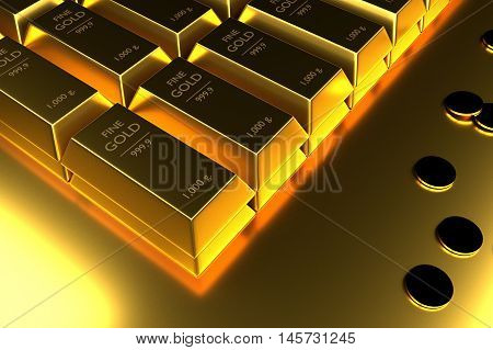 Close up Stacked gold bars and coins3d rendering illustration