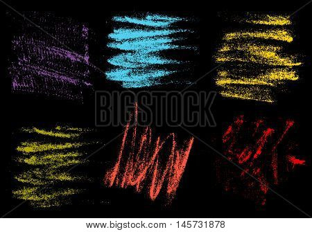 Vector crayons hand drawing abstract on black background set chalk brush stroke design art pastel black color grunge texture pattern drawing chalk on chalkboard