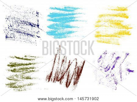 Vector crayons hand drawing abstract on white background set chalk brush stroke design art pastel black color grunge texture pattern drawing chalk on chalkboard