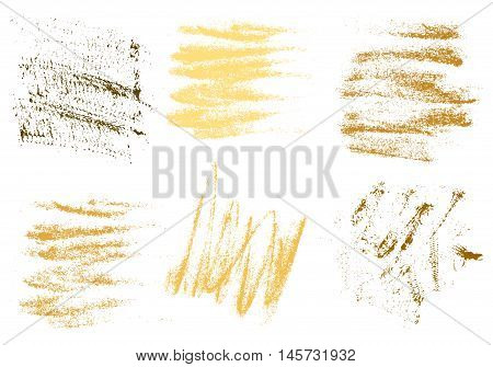 Vector gold charcoal hand drawing abstract on white background set golden chalk brush stroke design art pastel gold golden color grunge texture pattern drawing chalk on chalkboard