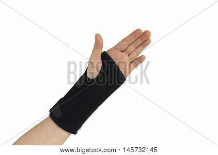 Woman Pain Hand In Black Wrist Bandage With Isolated.