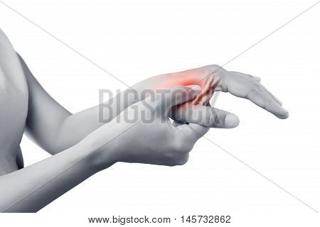 Acute pain in a women wrist De-Quervain's tenosynovitis Intersection Symptom Carpal Tunnel Syndrome