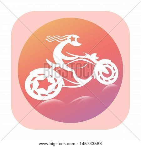 Motorcyclist riding on super bike icon isolated on white background