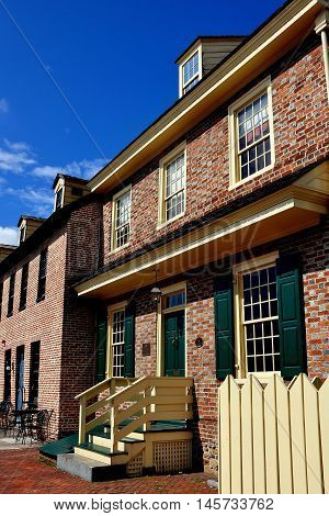 Baltimore Maryland - July 22 2013: The 1765 Robert Long House is the oldest residential home in the city built in Flemish Bond brick