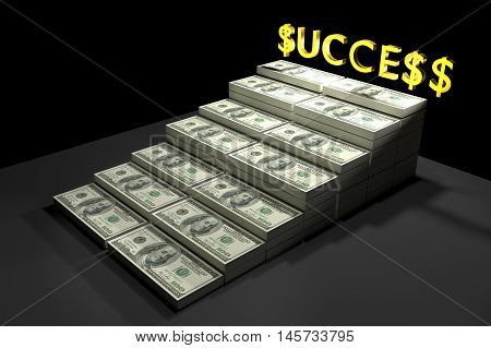 Stack of $100 dollar bills. with gold text SUCCESS,3d rendering ilustration,rich concept,a stair to rich concept,winner by rich,money for life
