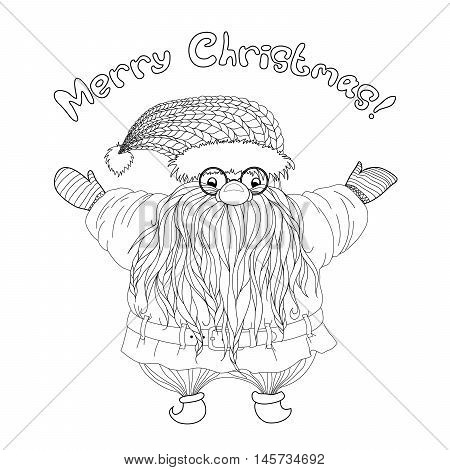 Santa Claus  with braided pigtails beard. Merry christmas. Hand-drawn elements for New Year's design in zentangle style. Pattern for coloring book. Xmas sketch by trace for adults and children.