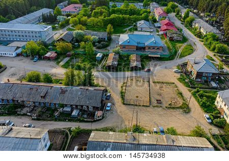 Vinzili, Russia - May 25, 2015: Tyumen regional clinical psychiatric hospital and residential settlement. Aerial view
