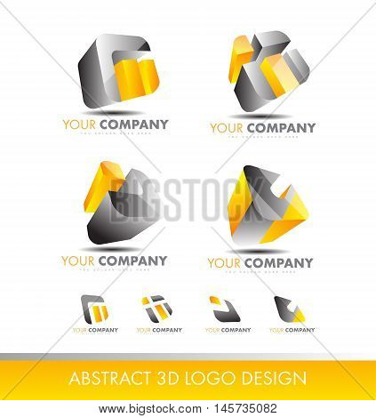Abstract 3d logo icon vector set grey yellow cube company element template business corporate