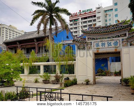 Penang, Malaysia: June 03 2016: The Blue Mansion or Cheong Fatt Tze Mansion at Georgetown Penang Malaysia. It is the former residence of Chong Fatt Tze the Chinese merchant which was built during 1880s.