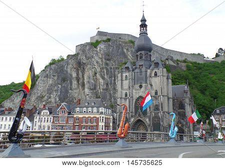 The Famous Landmark Church and Citadel of Dinant, Belgium