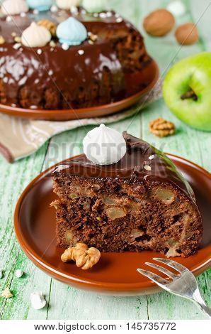 Chocolate cake with Apple and chocolate frosting. Simple home baking