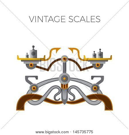 Retro balance scales in flat style isolated on white
