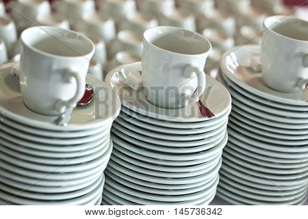 Coffee Cups An Plates In A Restaurant