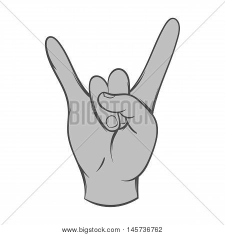 Gesture rock musician icon in black monochrome style isolated on white background. Gestural symbol. Vector illustration