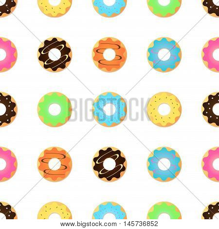 Seamless pattern with glazed donuts. Pink colors. Girly