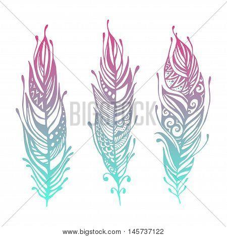 Set Of Boho Style Hand Drawn Elements. Boho Vector Illustration. Tribal Elements For Boho Wedding.