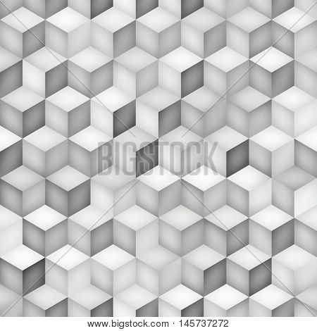 Vector Seamless Greyscale Shades Gradient Rhombus Tiling Pattern. Abstract Geometric Background Design
