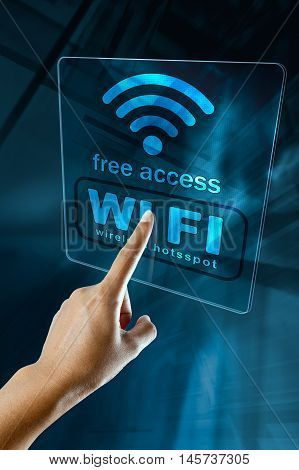 Woman's Hand log in to a free WI-FI zone