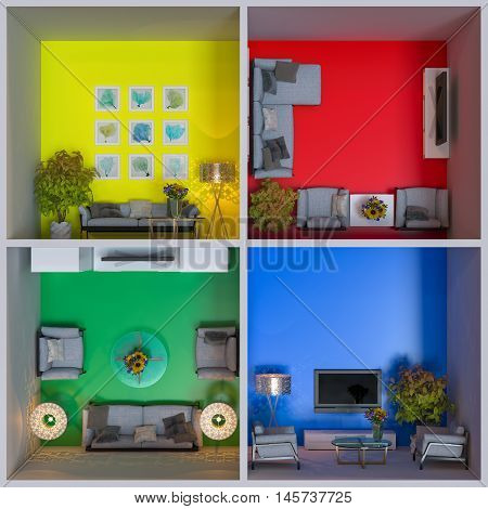 3d illustration of interior design of apartments in the cube