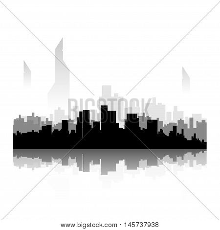 illustration of future black color city silhouette with reflection on white background