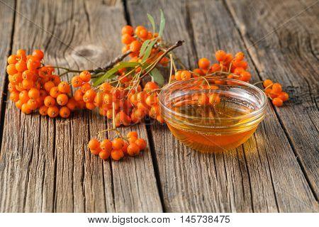 Bunch Of Rowan Berries And Bowl Of Honey