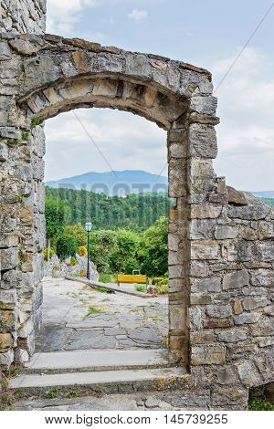 View thru the arch, historical building and beautiful landscape
