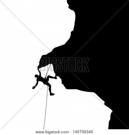 illustration of black color male rock climber silhouette holding