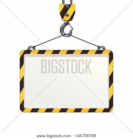 illustration og construction hook with banner islated on white background