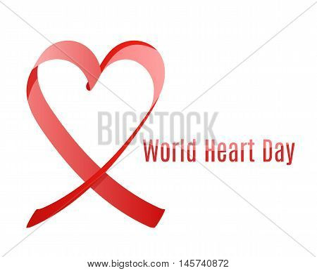 world heart day or world aids awarness day red ribbon, vector minimalistic plackard