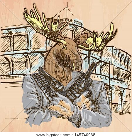Gunman. Animal Shooter - Elk. Freehand sketching line drawing. An hand drawn vector illustration. Colored background is isolated. Line art technique - colored. Vector is easy editable.