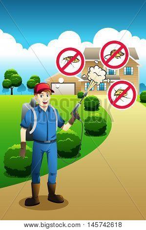 A vector illustration of exterminator service poster design