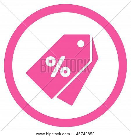 Percent Discount Tags rounded icon. Vector illustration style is flat iconic symbol, pink color, white background.
