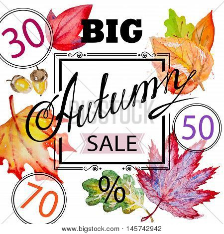 Vector inscription Big Autumn Sale with orange, red, vinous, yellow and green leaves on the white square background with black framing and sale percents numbers