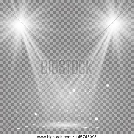 White glowing transparent disco lights background. Vector disco lights background illustration. Transparent shine lights background. Bright lighting effect disco lights. Realistic studio illumination.
