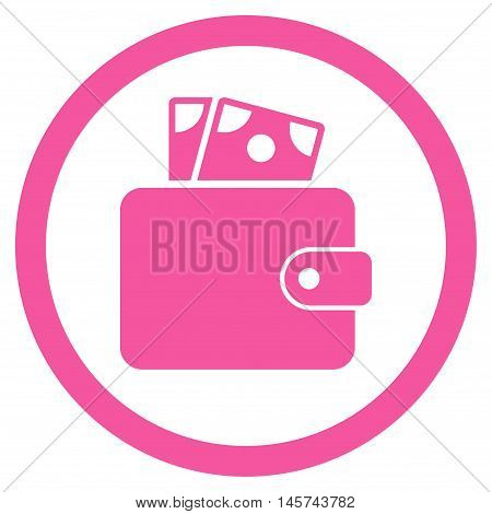 Wallet rounded icon. Vector illustration style is flat iconic symbol, pink color, white background.