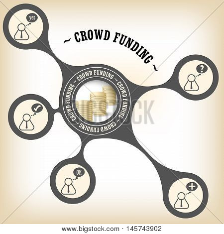 Vector object with theme of crowd funding and people